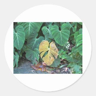 Yellow Leaf Round Sticker