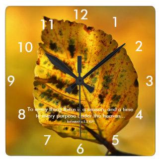 Yellow Leaf Scripture Wall Clocks