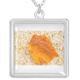 Yellow Leaf Square Pendant Necklace