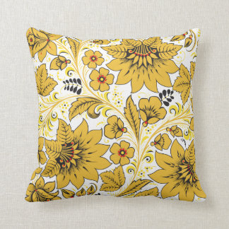 Yellow Leaves Khokhloma Throw Pillow