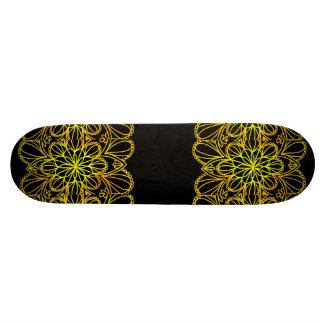 Yellow Leaves Mandala on Dark Board Skateboard