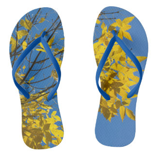 Yellow Leaves on Fall Tree Thongs