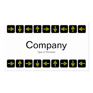 Yellow LED Style Arrows - White Business Card Template