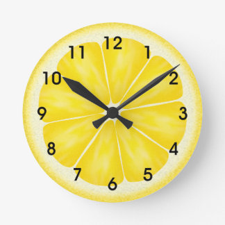 Yellow Lemon Citrus Fruit Slice Round Clock