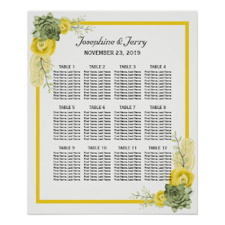 Yellow Lemon Floral Country Wedding Seating Chart