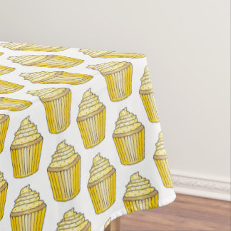Yellow Lemon Frosted Cupcake Cake Dessert Foodie Tablecloth