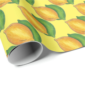 Yellow Lemon Lime Pattern Citrus Fruit Gift Wrap