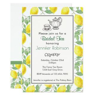Yellow Lemon Pattern Bridal Tea Invite