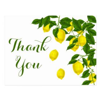 Yellow Lemon Thank You Green Citrus Wedding Postcard
