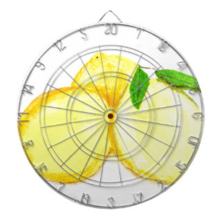 Yellow lemons fruits dartboard