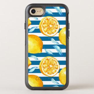 Yellow Lemons on Blue and White Horizontal Stripes OtterBox Symmetry iPhone 8/7 Case