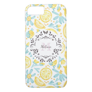 Yellow Lemons & Pastel Blue Flowers Monogram iPhone 8/7 Case