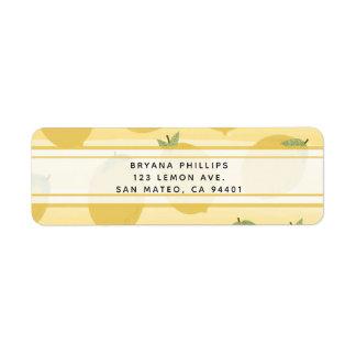 Yellow Lemons Summer Fruit Watercolor Stripe Favor Return Address Label