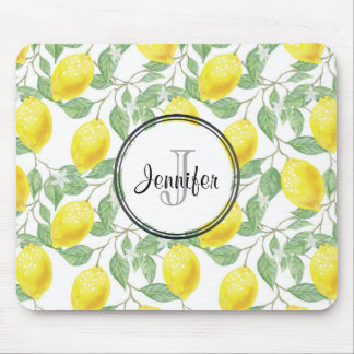 Yellow Lemons with Green Leaves Pattern Monogram Mouse Pad