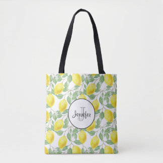 Yellow Lemons with Green Leaves Pattern Monogram Tote Bag