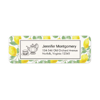 Yellow Lemons with Green Leaves Pattern Return Address Label