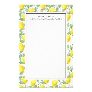 Yellow Lemons with Green Leaves Pattern Stationery