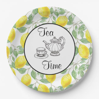 Yellow Lemons with Green Leaves Pattern Tea Time Paper Plate