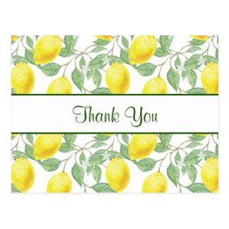 Yellow Lemons with Green Leaves Pattern Thank You Postcard