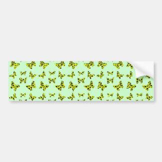 Yellow Leopard Print Butterfly Pattern Bumper Sticker