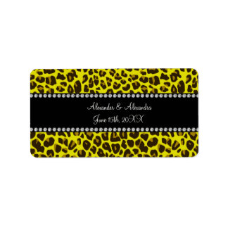 Yellow leopard wedding favors address label