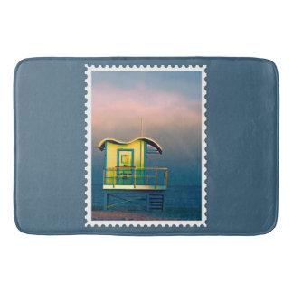 Yellow Life Guard Shack Stamp Bath Mats