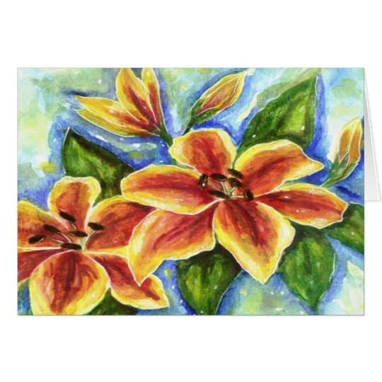 Yellow Lilies  Greeting Card