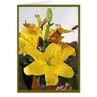 Yellow Lilies Painting Greeting Card (Blank)