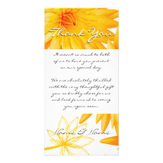 Yellow lillies - thank you for gifts customizable photo greeting card