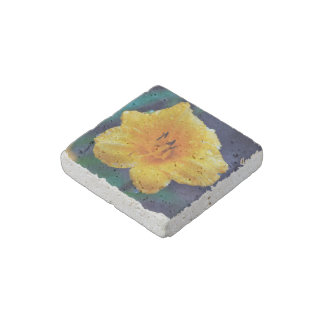 Yellow Lilly Flower Stone Magnet