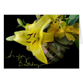 Yellow Lilly Mosaic Birthday Card