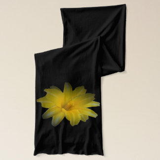 Yellow Lily on Black Scarf