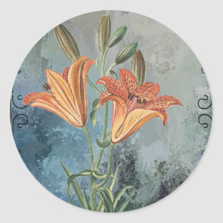 Yellow Lily on Blue Distressed Background Classic Round Sticker