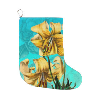 Yellow Lily On Teal Vintage Large Christmas Stocking