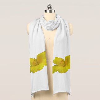 Yellow Lily on White Scarf