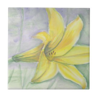 Yellow Lily Painting in Acrylic Small Square Tile