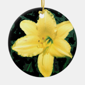 Yellow Lily Picture Round Ceramic Decoration