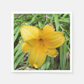 Yellow lily up close paper napkins