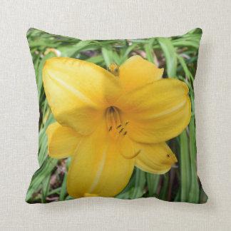 Yellow lily up close throw cusion cushion