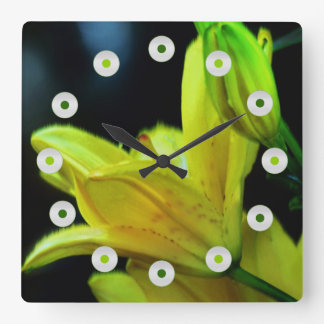 Yellow Lily with Wind Effect by Shirley Taylor Square Wall Clock