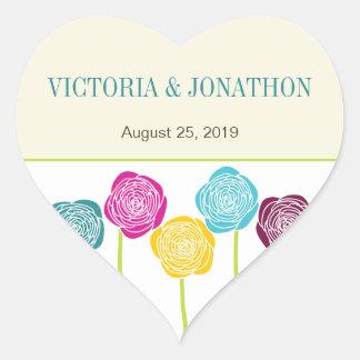 Yellow Lime Succulent Modern Typography Wedding Heart Sticker