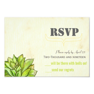 Yellow Lime Succulent Modern Typography Wedding Custom Announcement