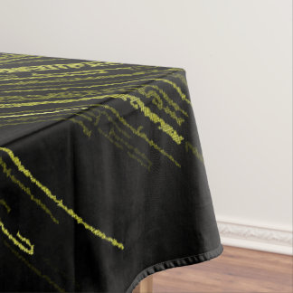 Yellow line art, abstract design, stripes pattern tablecloth