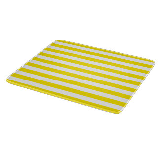 Yellow line art, modern design, stripes pattern cutting board