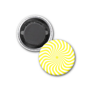 Yellow Line Swirl 3 Cm Round Magnet