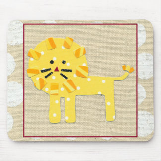 Yellow Lion with White Polka Dots Mouse Pad