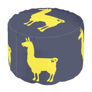 Yellow Llama Pouf