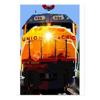 Yellow Locomotive Postcard