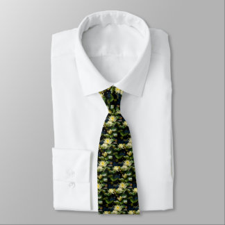 Yellow Lotus Waterlilies Tie