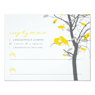 Yellow Love Birds in Tree RSVP - 2 sided Card